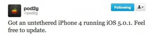 Pod2g宣布在iPhone4下实现iOS 5.0.1完美越狱