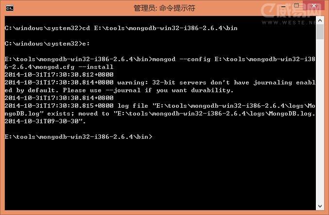 MongoDB安装并设置成Windows服务的教程_数据库_威易网