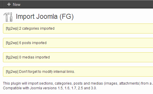 joomla-import-success